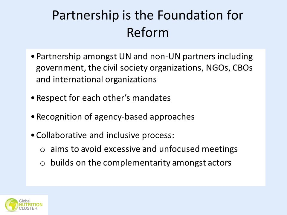 Partnership is the Foundation for Reform Partnership amongst UN and non-UN partners including government, the civil society organizations, NGOs, CBOs