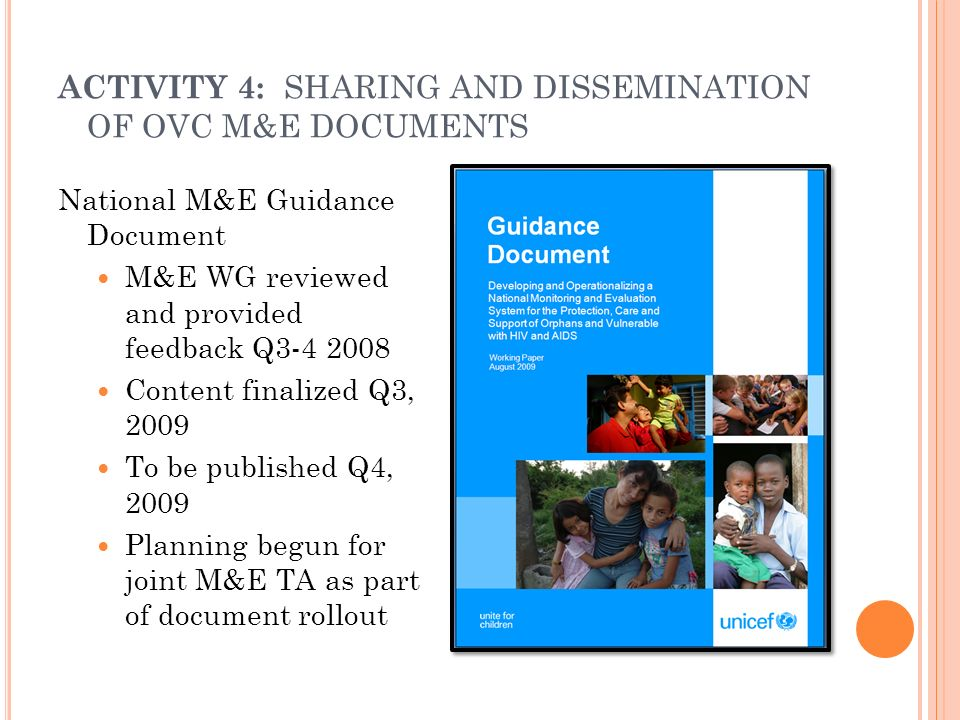 ACTIVITY 4: SHARING AND DISSEMINATION OF OVC M&E DOCUMENTS National M&E Guidance Document M&E WG reviewed and provided feedback Q3-4 2008 Content fina