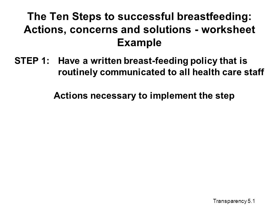Transparency 5.1 The Ten Steps to successful breastfeeding: Actions, concerns and solutions - worksheet Example STEP 1:Have a written breast-feeding policy that is routinely communicated to all health care staff Actions necessary to implement the step
