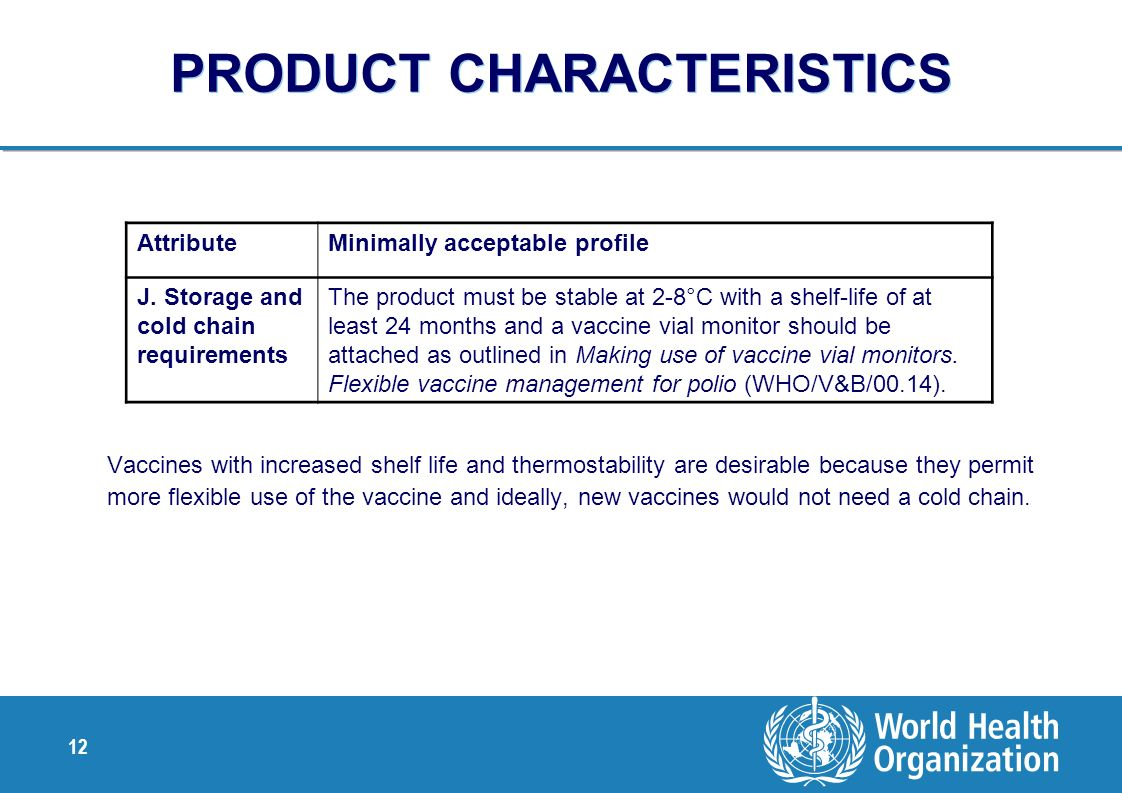 12 PRODUCT CHARACTERISTICS Vaccines with increased shelf life and thermostability are desirable because they permit more flexible use of the vaccine a