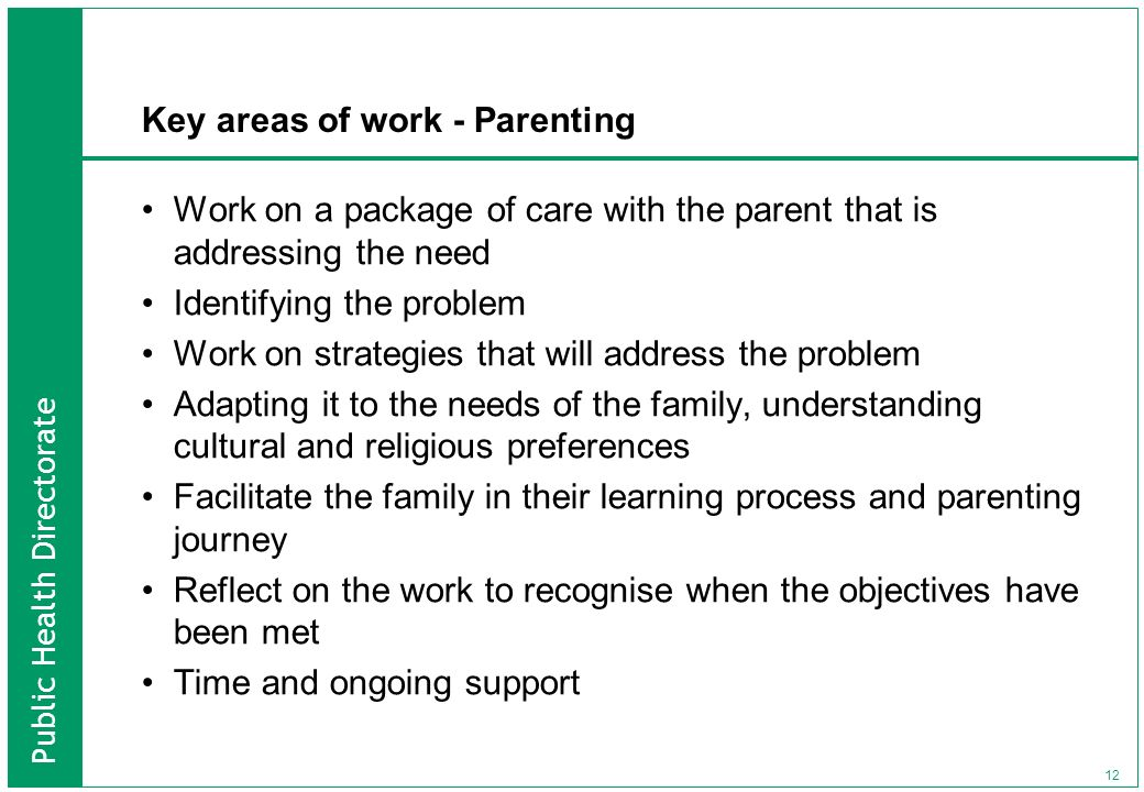Public Health Directorate 12 Key areas of work - Parenting Work on a package of care with the parent that is addressing the need Identifying the probl