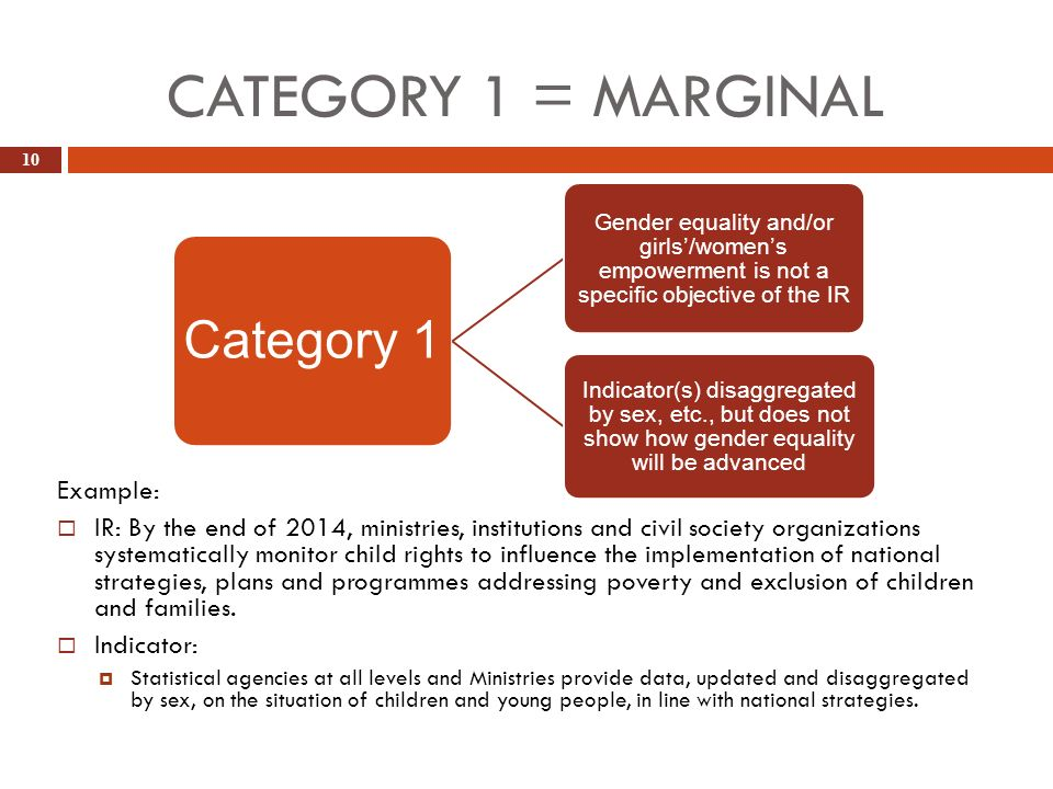 CATEGORY 1 = MARGINAL 10 Example: IR: By the end of 2014, ministries, institutions and civil society organizations systematically monitor child rights