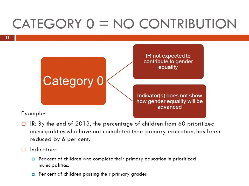 CATEGORY 0 = NO CONTRIBUTION 11 Example: IR: By the end of 2013, the percentage of children from 60 prioritized municipalities who have not completed