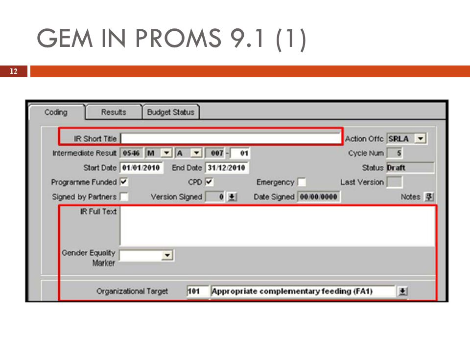 GEM IN PROMS 9.1 (1) 12