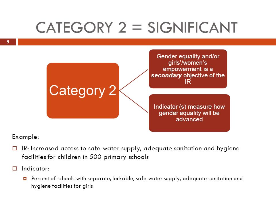 CATEGORY 2 = SIGNIFICANT 9 Example: IR: Increased access to safe water supply, adequate sanitation and hygiene facilities for children in 500 primary