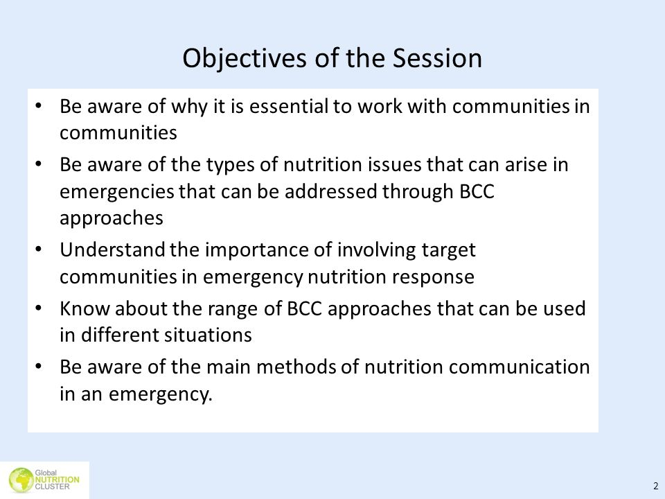Objectives of the Session Be aware of why it is essential to work with communities in communities Be aware of the types of nutrition issues that can a