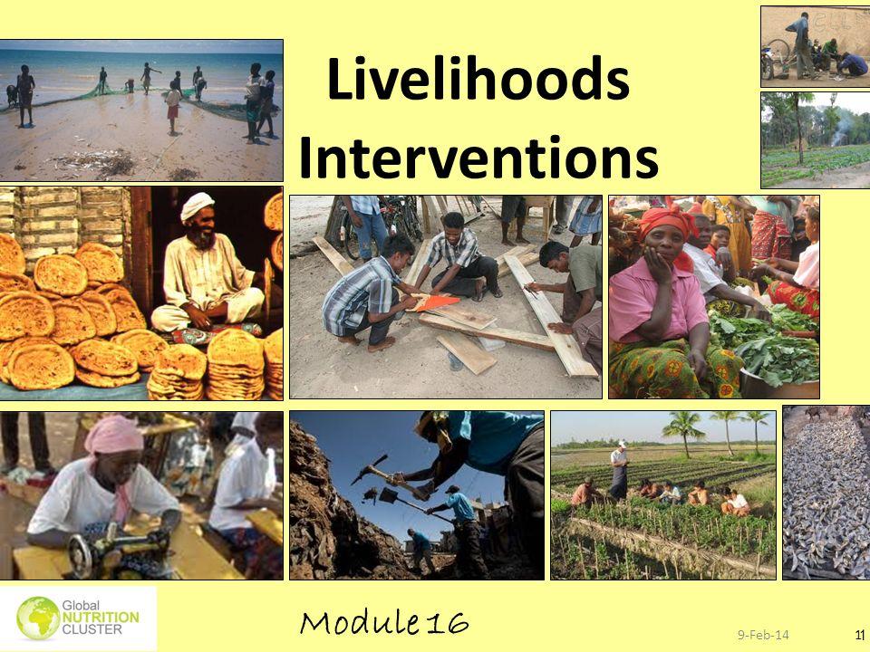 9-Feb-141 1 Save lives and save (or restore) livelihoods….. Livelihoods Interventions Module 16
