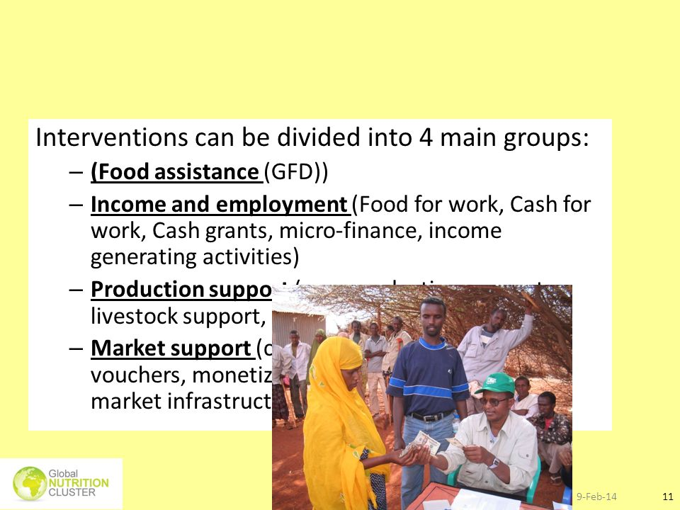 9-Feb-1411 Interventions can be divided into 4 main groups: – (Food assistance (GFD)) – Income and employment (Food for work, Cash for work, Cash gran