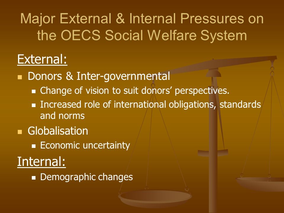 Major External & Internal Pressures on the OECS Social Welfare System External: Donors & Inter-governmental Change of vision to suit donors perspectiv
