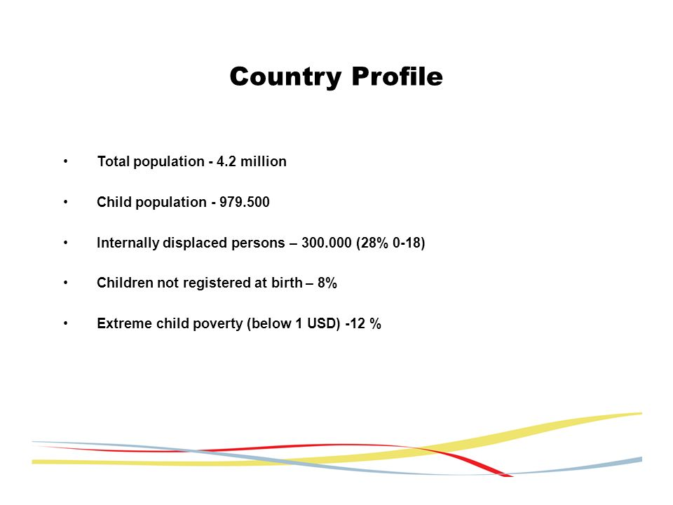 Total population - 4.2 million Child population - 979.500 Internally displaced persons – 300.000 (28% 0-18) Children not registered at birth – 8% Extreme child poverty (below 1 USD) -12 % Country Profile
