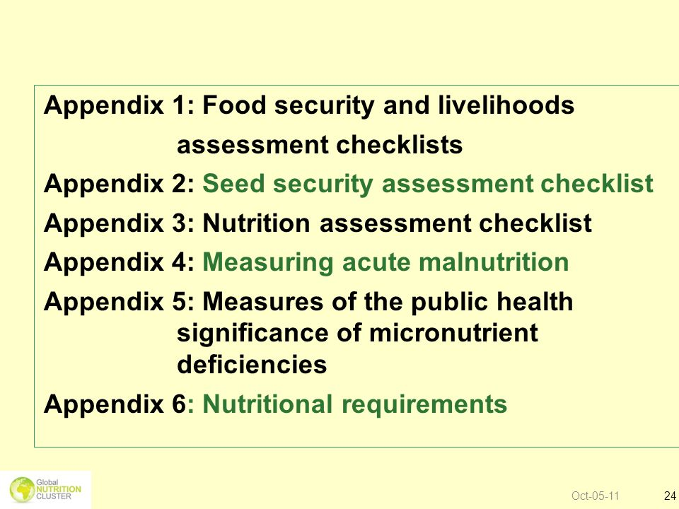 Oct-05-1124 Appendix 1: Food security and livelihoods assessment checklists Appendix 2: Seed security assessment checklist Appendix 3: Nutrition asses