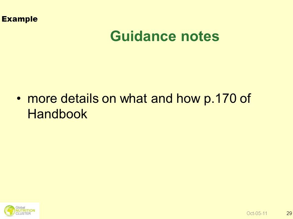 Oct-05-1129 Guidance notes more details on what and how p.170 of Handbook Example