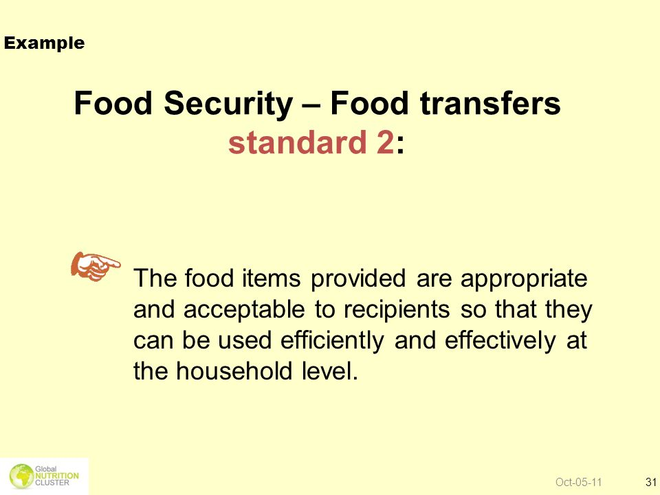 Oct-05-1131 Food Security – Food transfers standard 2: The food items provided are appropriate and acceptable to recipients so that they can be used e