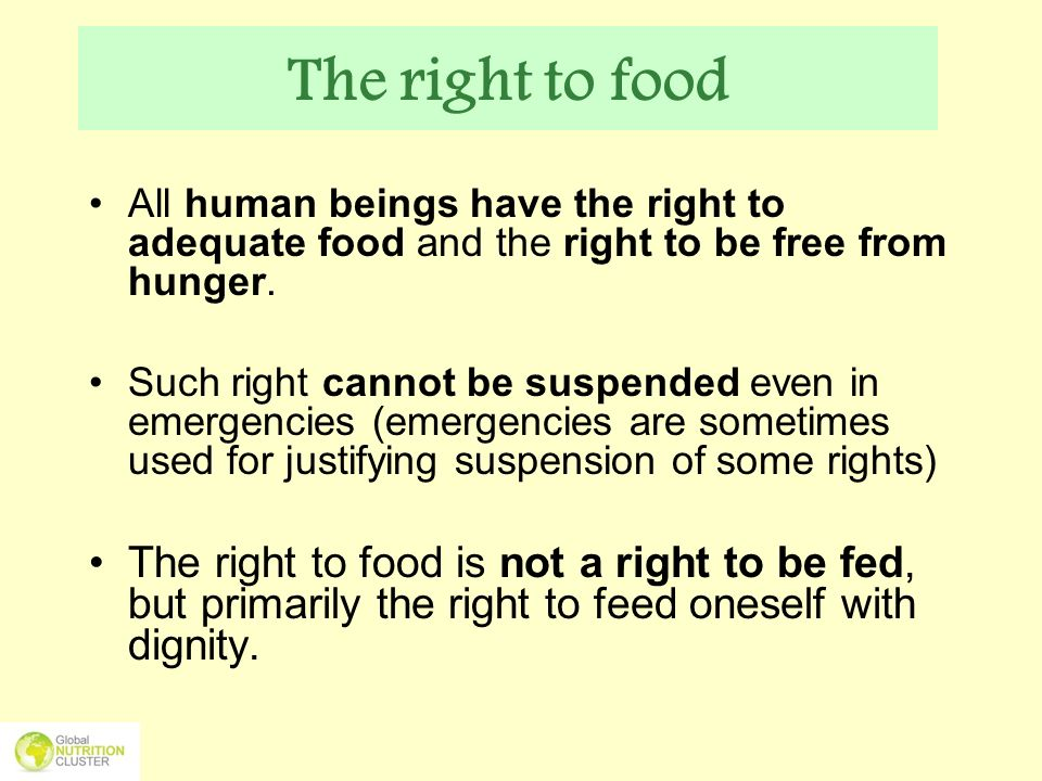Legal standards- Human rights law The Right to Food requires States to provide an enabling environment in which people can use their full potential to produce or procure adequate food for themselves and their families.