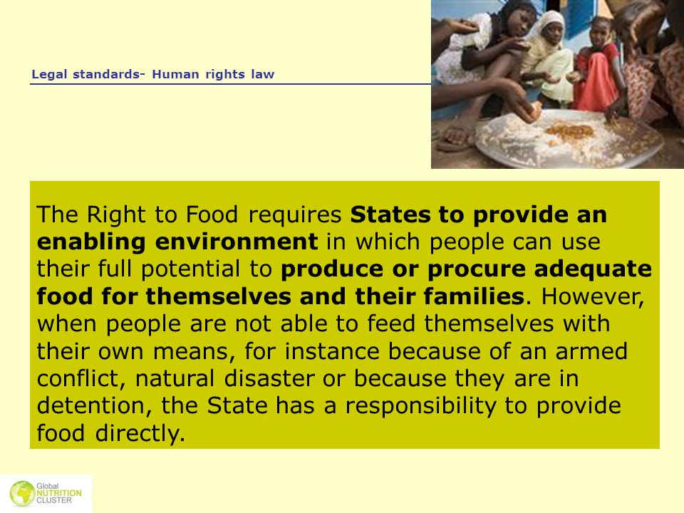Legal standards- Human rights law The Right to Food requires States to provide an enabling environment in which people can use their full potential to
