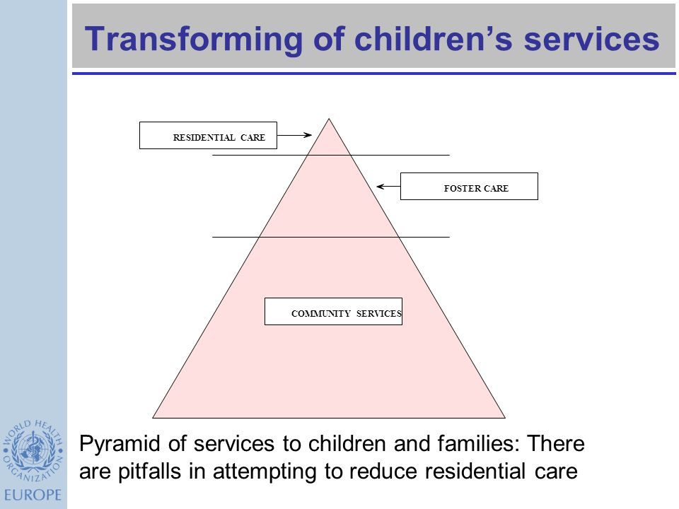 Protection/Out of Home Placements Institution ?? No child under 3 should be in institutional care International Adoption Last resort Only in the best
