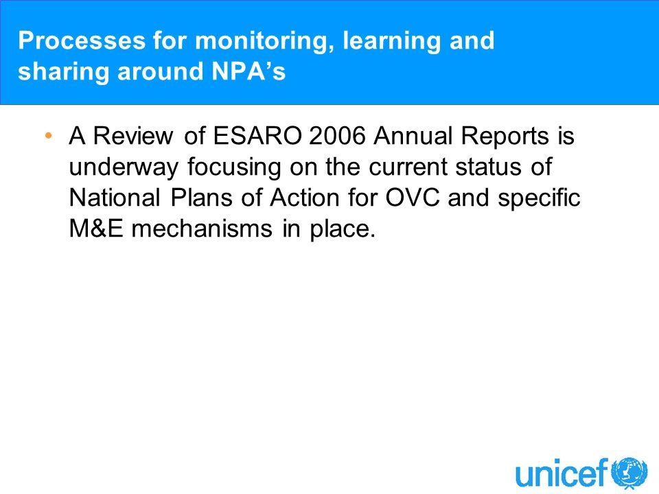 Processes for monitoring, learning and sharing around NPAs A Review of ESARO 2006 Annual Reports is underway focusing on the current status of Nationa