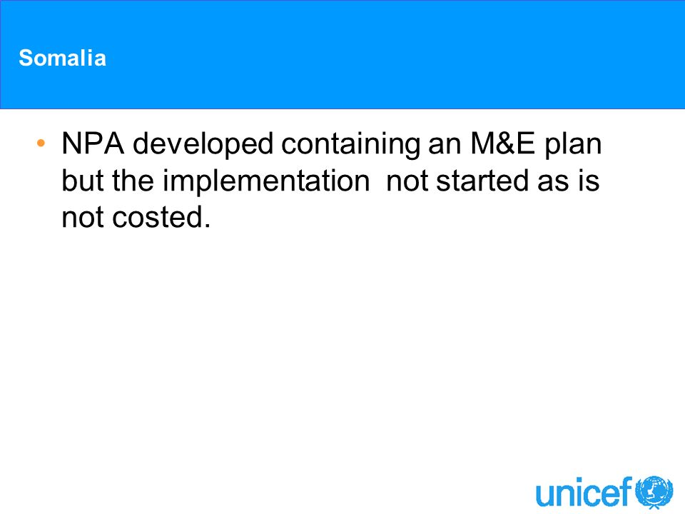 Somalia NPA developed containing an M&E plan but the implementation not started as is not costed.
