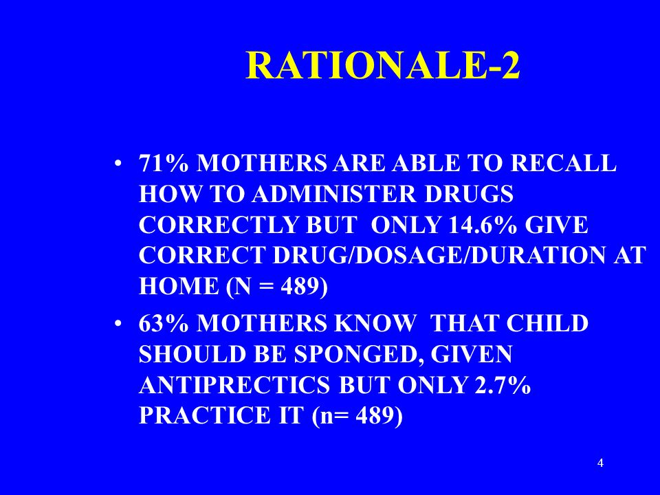 4 RATIONALE-2 71% MOTHERS ARE ABLE TO RECALL HOW TO ADMINISTER DRUGS CORRECTLY BUT ONLY 14.6% GIVE CORRECT DRUG/DOSAGE/DURATION AT HOME (N = 489) 63% MOTHERS KNOW THAT CHILD SHOULD BE SPONGED, GIVEN ANTIPRECTICS BUT ONLY 2.7% PRACTICE IT (n= 489)