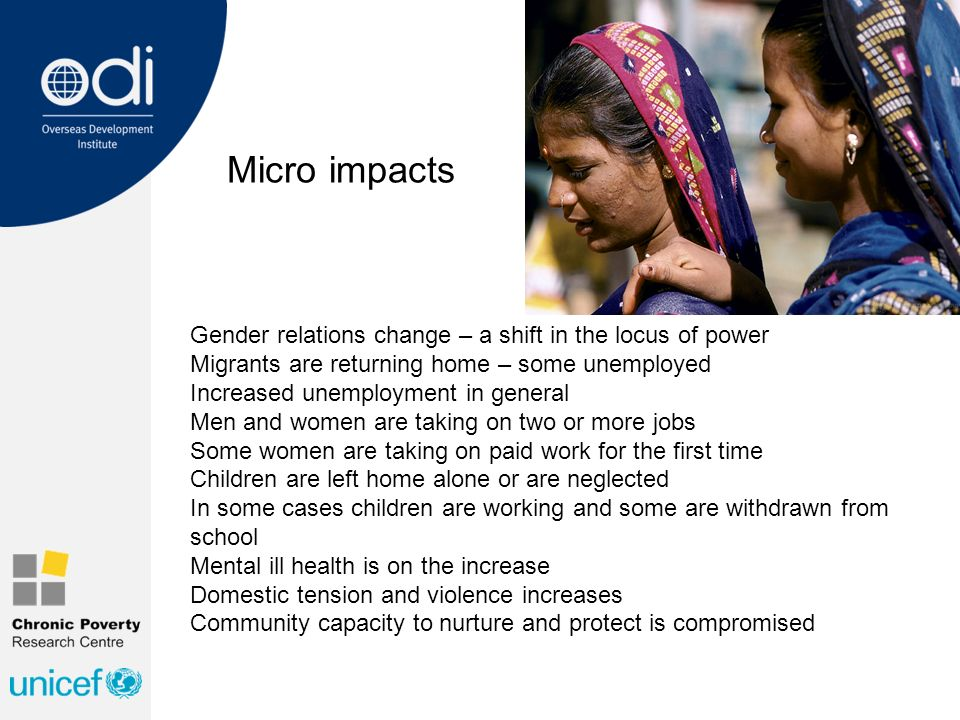 Micro impacts Gender relations change – a shift in the locus of power Migrants are returning home – some unemployed Increased unemployment in general Men and women are taking on two or more jobs Some women are taking on paid work for the first time Children are left home alone or are neglected In some cases children are working and some are withdrawn from school Mental ill health is on the increase Domestic tension and violence increases Community capacity to nurture and protect is compromised