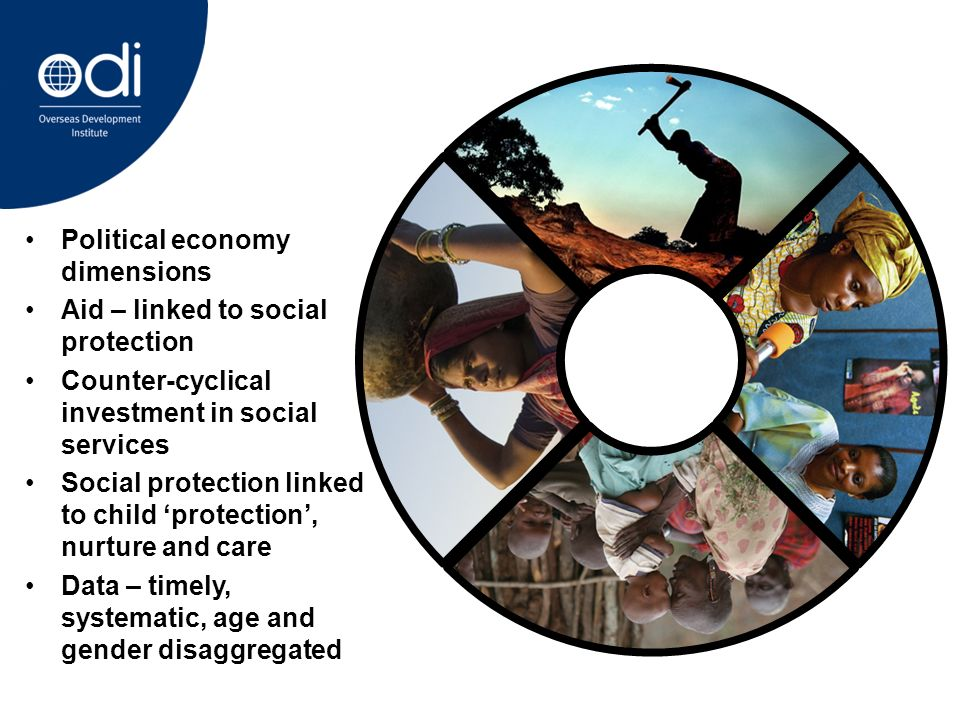 Political economy dimensions Aid – linked to social protection Counter-cyclical investment in social services Social protection linked to child protection, nurture and care Data – timely, systematic, age and gender disaggregated