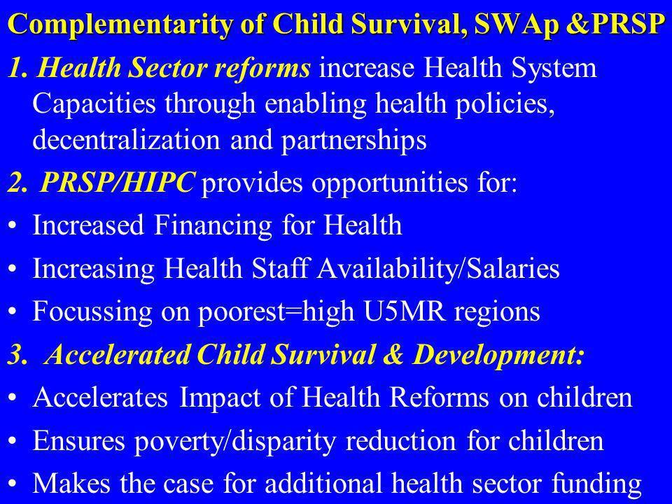 Complementarity of Child Survival, SWAp &PRSP 1. Health Sector reforms increase Health System Capacities through enabling health policies, decentraliz