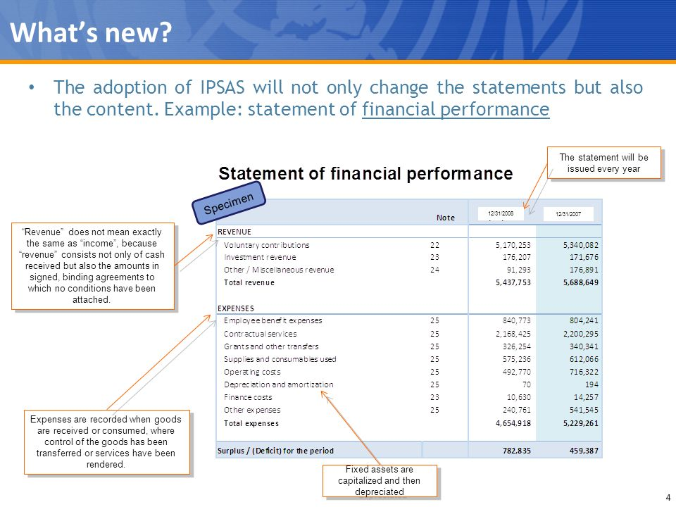 Whats new? 4 The adoption of IPSAS will not only change the statements but also the content. Example: statement of financial performance Specimen The