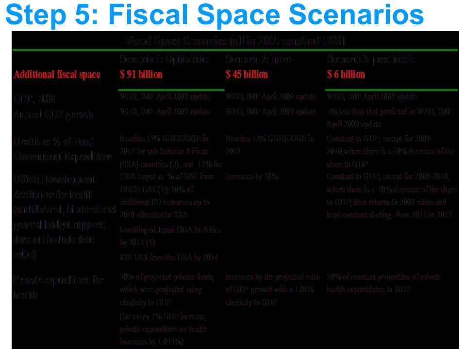 Step 5: Fiscal Space Scenarios