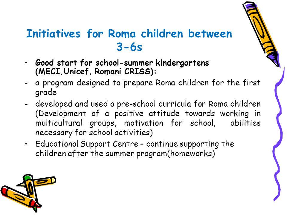 Initiatives for Roma children between 3-6s Good start for school-summer kindergartens (MECI,Unicef, Romani CRISS): -a program designed to prepare Roma
