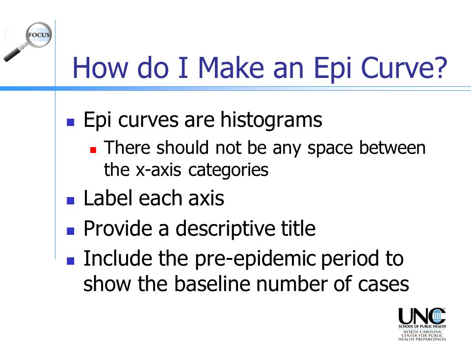 How do I Make an Epi Curve? Epi curves are histograms There should not be any space between the x-axis categories Label each axis Provide a descriptiv
