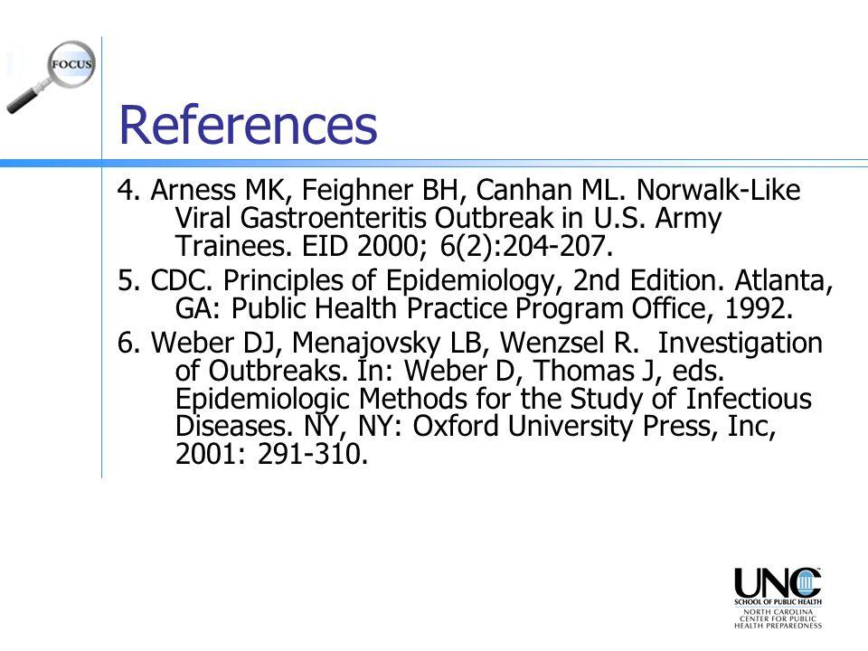 References 4. Arness MK, Feighner BH, Canhan ML. Norwalk-Like Viral Gastroenteritis Outbreak in U.S. Army Trainees. EID 2000; 6(2):204-207. 5. CDC. Pr