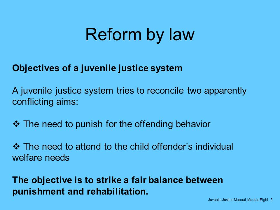 Reform by law Objectives of a juvenile justice system A juvenile justice system tries to reconcile two apparently conflicting aims: The need to punish for the offending behavior The need to attend to the child offenders individual welfare needs The objective is to strike a fair balance between punishment and rehabilitation.