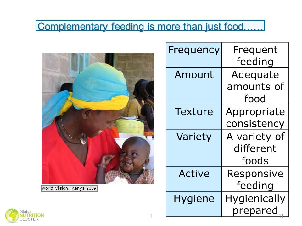 FrequencyFrequent feeding AmountAdequate amounts of food TextureAppropriate consistency VarietyA variety of different foods ActiveResponsive feeding HygieneHygienically prepared Complementary feeding is more than just food…… World Viision, Kenya 2009 111