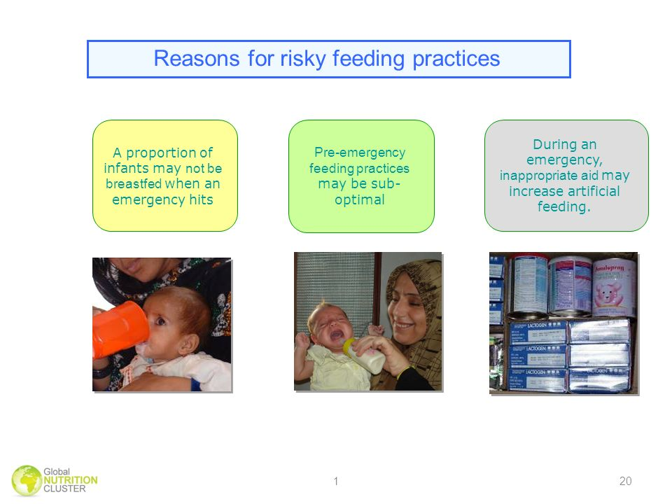 Reasons for risky feeding practices Pre-emergency feeding practices may be sub- optimal A proportion of infants may not be breastfed when an emergency hits During an emergency, inappropriate aid may increase artificial feeding.