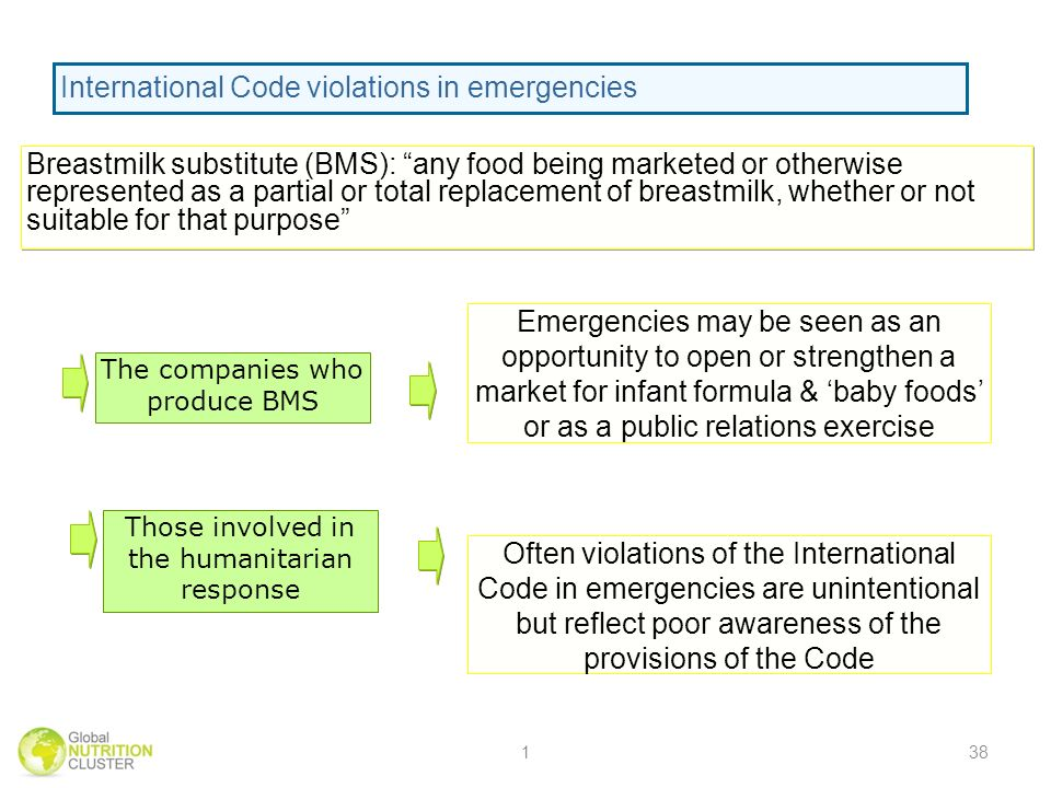 The companies who produce BMS Those involved in the humanitarian response Emergencies may be seen as an opportunity to open or strengthen a market for infant formula & baby foods or as a public relations exercise Often violations of the International Code in emergencies are unintentional but reflect poor awareness of the provisions of the Code Violations of the International Code in Emergencies Breastmilk substitute (BMS): any food being marketed or otherwise represented as a partial or total replacement of breastmilk, whether or not suitable for that purpose International Code violations in emergencies 138