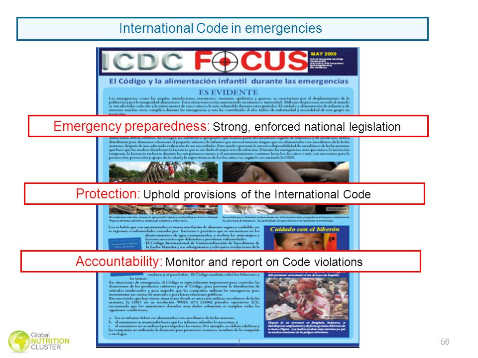 International Code in emergencies Emergency preparedness: Strong, enforced national legislation Protection: Uphold provisions of the International Cod