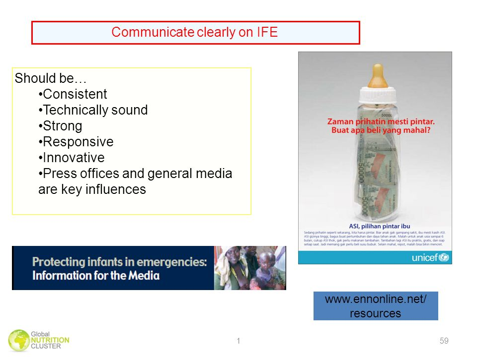 Communicate clearly on IFE Should be… Consistent Technically sound Strong Responsive Innovative Press offices and general media are key influences   resources 159