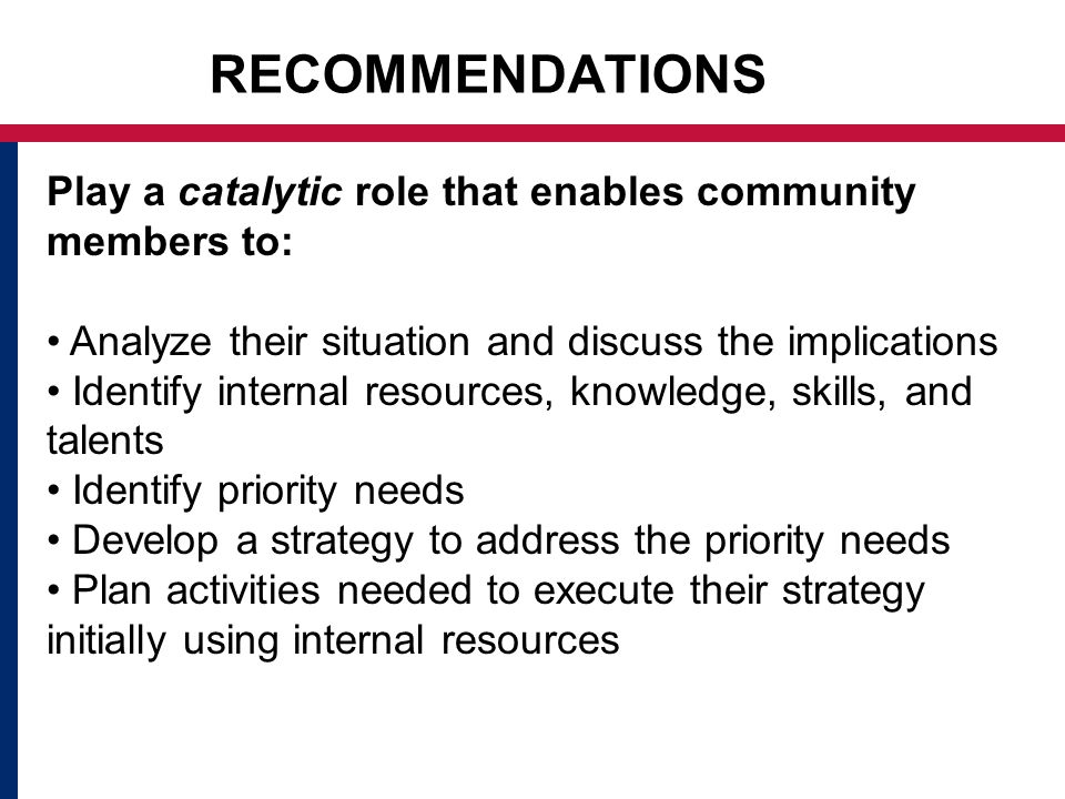 RECOMMENDATIONS Play a catalytic role that enables community members to: Analyze their situation and discuss the implications Identify internal resources, knowledge, skills, and talents Identify priority needs Develop a strategy to address the priority needs Plan activities needed to execute their strategy initially using internal resources