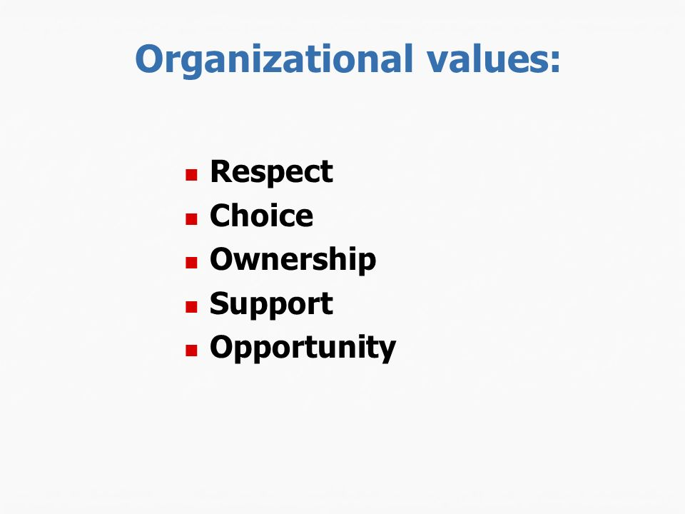 Organizational values: Respect Choice Ownership Support Opportunity