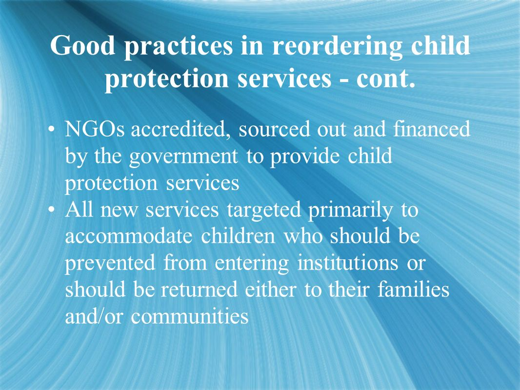 Good practices in reordering child protection services - cont.