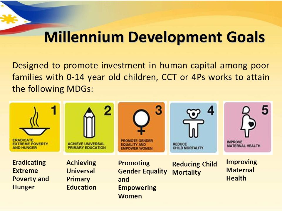 Designed to promote investment in human capital among poor families with 0-14 year old children, CCT or 4Ps works to attain the following MDGs: Eradicating Extreme Poverty and Hunger Achieving Universal Primary Education Promoting Gender Equality and Empowering Women Reducing Child Mortality Improving Maternal Health Millennium Development Goals