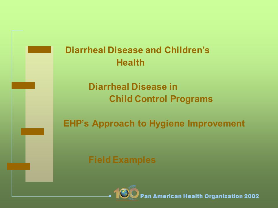 Pan American Health Organization 2002 Diarrheal Disease and Childrens Health Diarrheal Disease in Child Control Programs EHPs Approach to Hygiene Improvement Field Examples