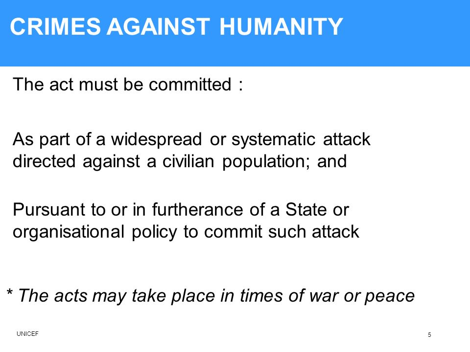 CORE CRIMES OF INTERNATIONAL CRIMINAL LAW 5) Can a single isolated incident be considered a crime against humanity.