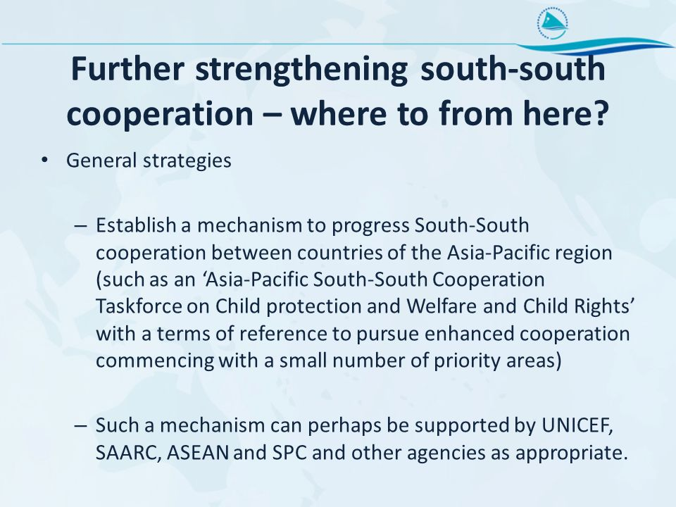Further strengthening south-south cooperation – where to from here.