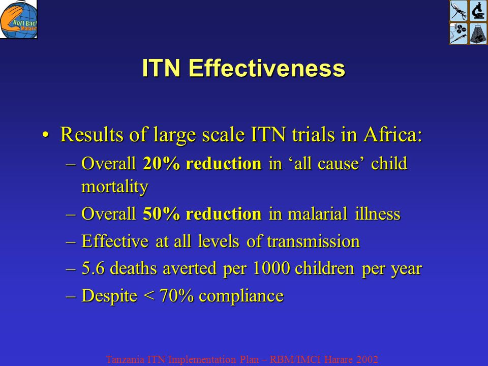 Tanzania ITN Implementation Plan – RBM/IMCI Harare 2002 ITN Effectiveness Results of large scale ITN trials in Africa:Results of large scale ITN trials in Africa: –Overall 20% reduction in all cause child mortality –Overall 50% reduction in malarial illness –Effective at all levels of transmission –5.6 deaths averted per 1000 children per year –Despite < 70% compliance