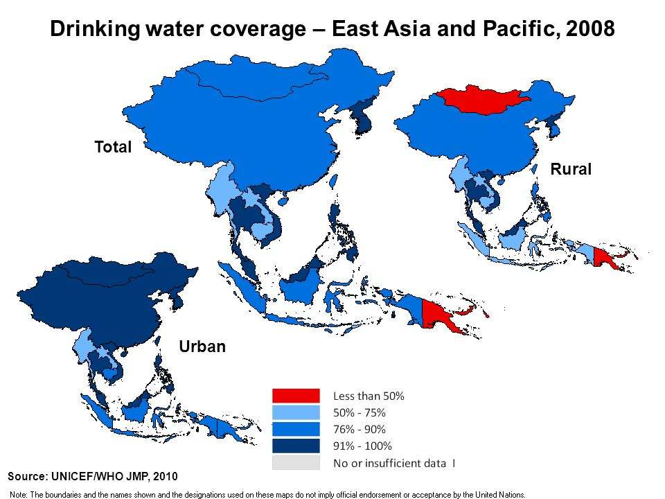 Total Rural Urban Sanitation coverage – East Asia and Pacific, 2008 Source: UNICEF/WHO JMP, 2010