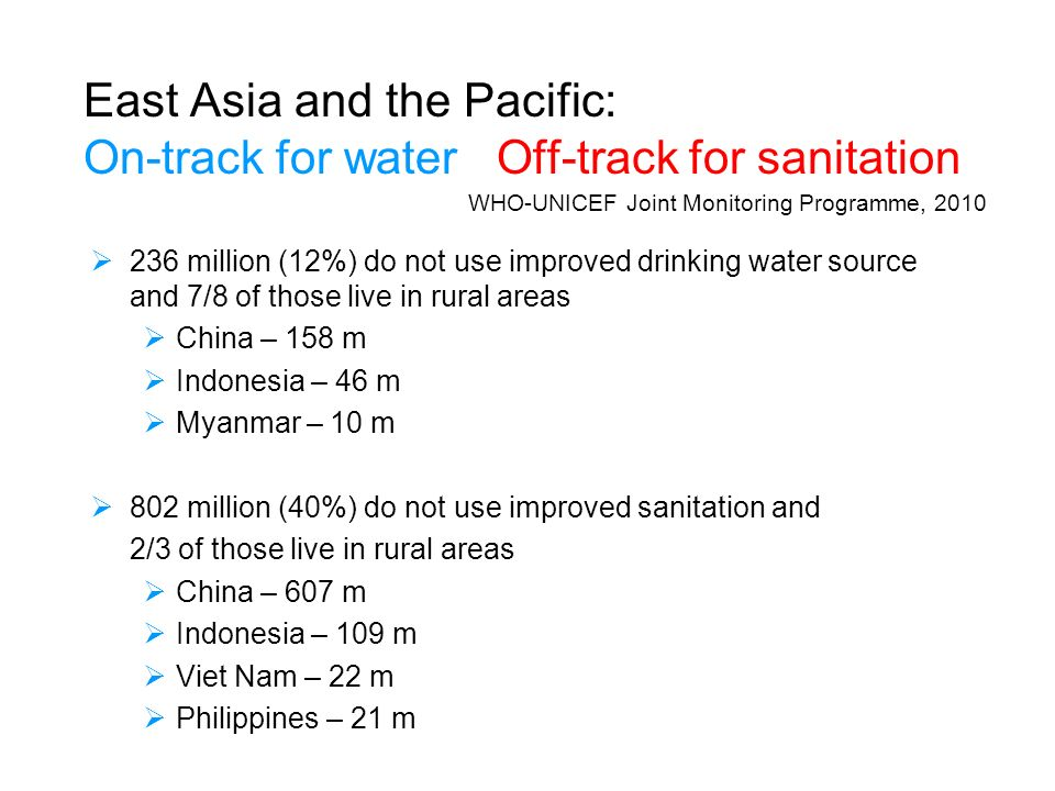East Asia and the Pacific: On-track for water Off-track for sanitation 236 million (12%) do not use improved drinking water source and 7/8 of those live in rural areas China – 158 m Indonesia – 46 m Myanmar – 10 m 802 million (40%) do not use improved sanitation and 2/3 of those live in rural areas China – 607 m Indonesia – 109 m Viet Nam – 22 m Philippines – 21 m WHO-UNICEF Joint Monitoring Programme, 2010