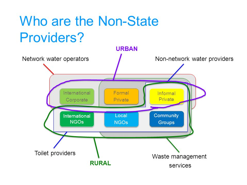 Network water operators Waste management services Non-network water providers Toilet providers Who are the Non-State Providers.