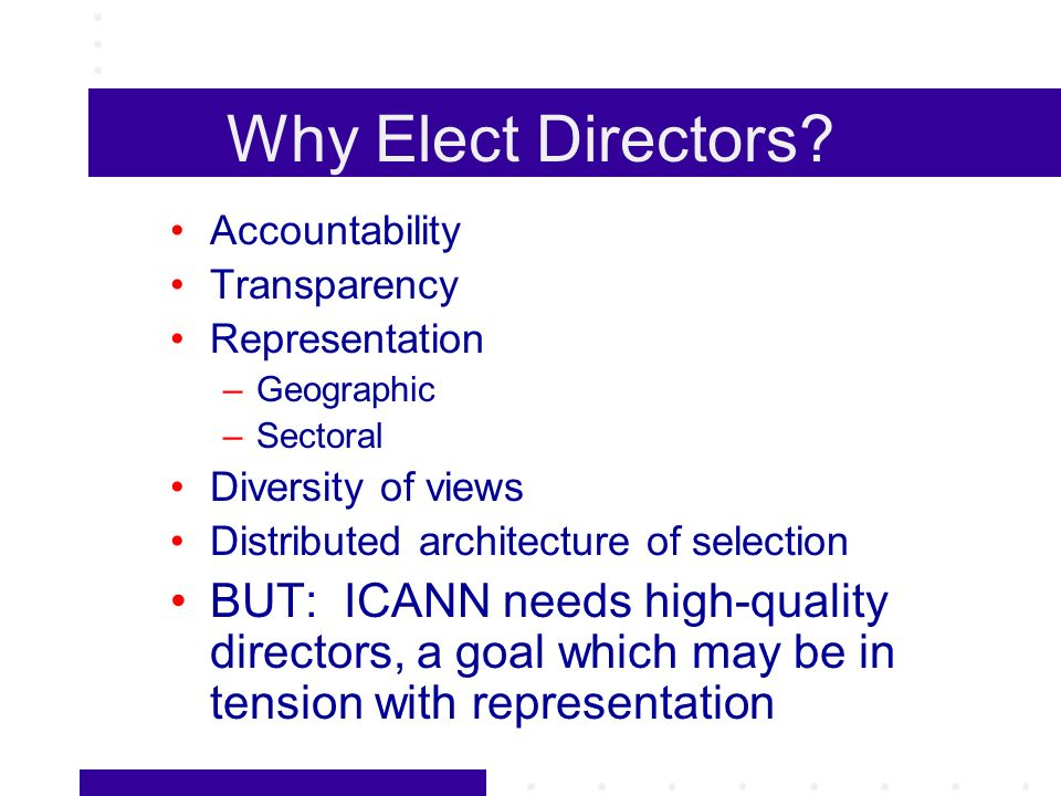 Why Elect Directors.