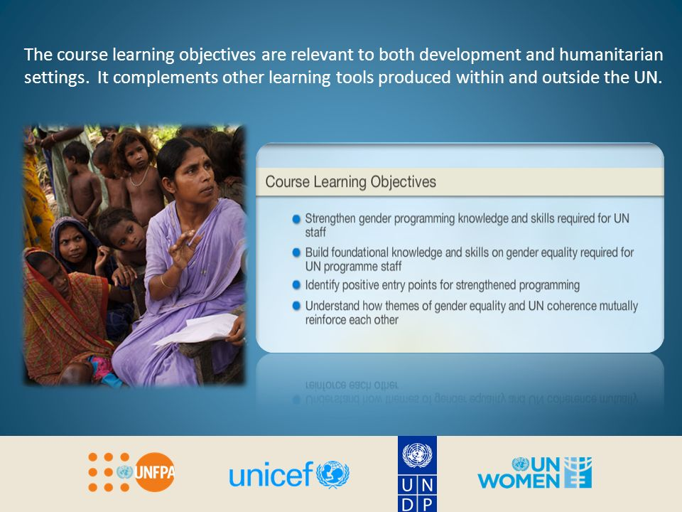 The course learning objectives are relevant to both development and humanitarian settings.